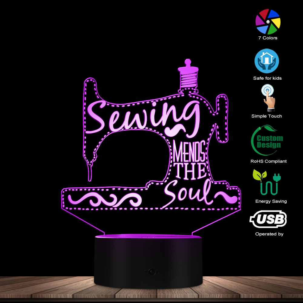 Sewing Mends The Soul 3D Optical Illusion Lamp Sewing Machine Tailor Shop LED Night Light Decorative Lighting Modern Visual Lamp