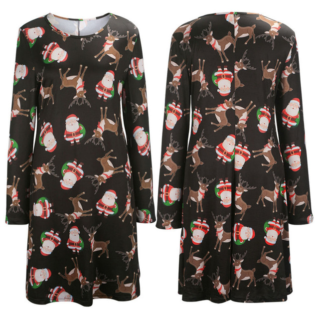 christmas dress women tunic dress santa claus father christmas party dress casual loose long baggy tops