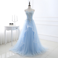 Elegant Prom Dresses 2018 Light Blue Tulle Women Formal Party Dresses Lace Appliqued Long Evening Dresses