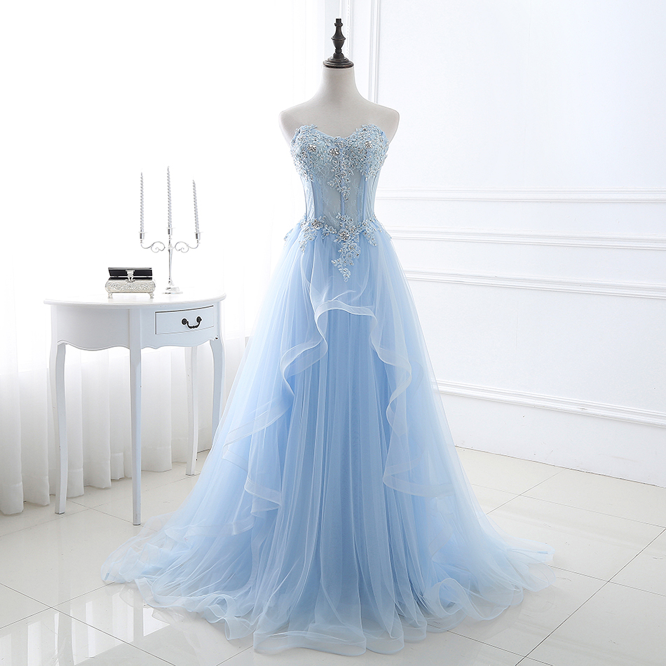 Elegant Prom Dresses 2018 Light Blue Tulle Women Formal Party Dresses Lace Appliqued Long Evening Dresses