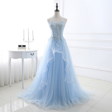 Elegant Prom Dresses 2018 Light Blue Tulle Women Formal Party Lace Appliqued Long Evening