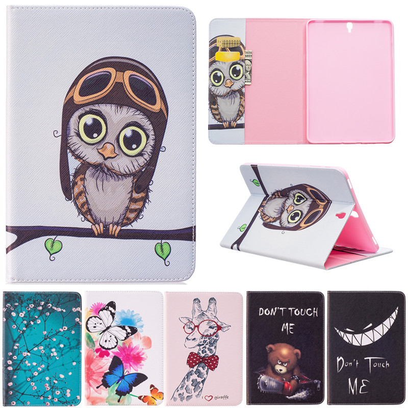 Fashion Butterfly Owl Bear Cartoon PU Leather Flip Stand Cover Cases For Samsung Galaxy Tab S3 T820 T825 9.7 Tablet Case Fundas