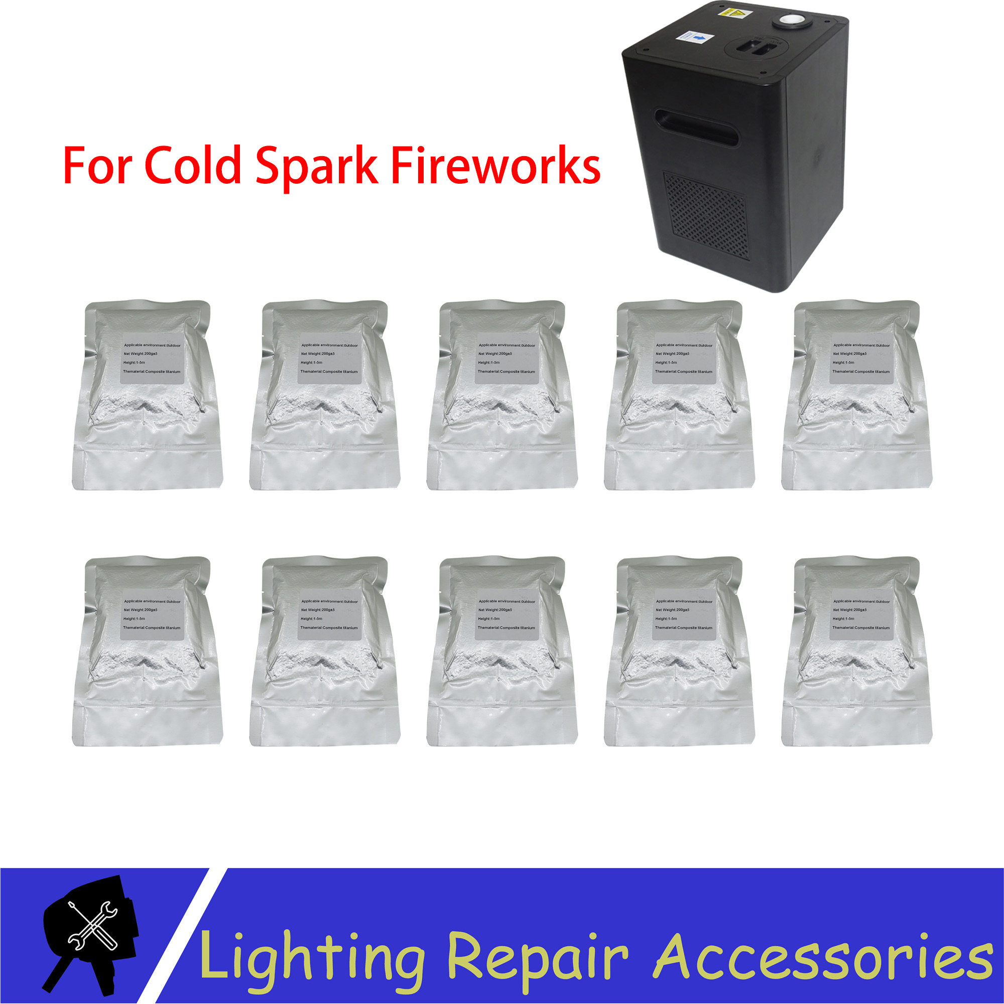 10 Bags/lots TI Powder 200g/bag Outdoor Cold Spark Sparkler Metal Titanium For Cold Flame Stage Effect Firework Machine Powder