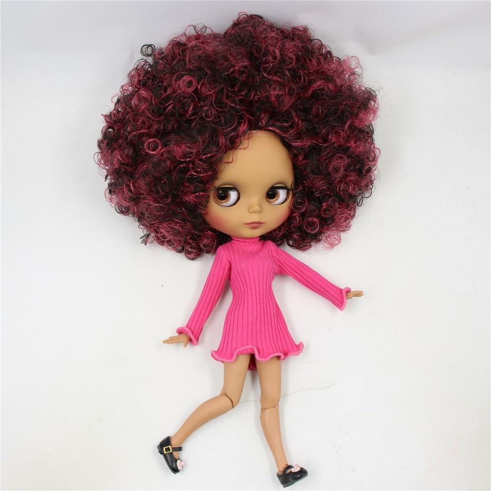 ตุ๊กตาบลายธ์ตุ๊กตา 1/6 bjd joint body ผิว matte face,ไวน์แดงผสมสีดำ Afro ผม, naked ตุ๊กตา 30 ซม.QE155/9103-ใน ตุ๊กตา จาก ของเล่นและงานอดิเรก บน   2