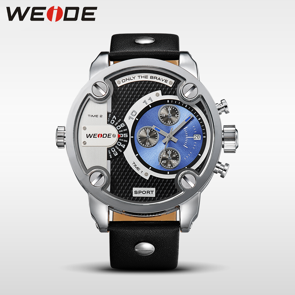 где купить  WEIDE Watches Men Luxury Brand Leather Strap Quartz Dual Time Analog Date Sport Military Oversize Men Wristwatches relogios 3301  по лучшей цене