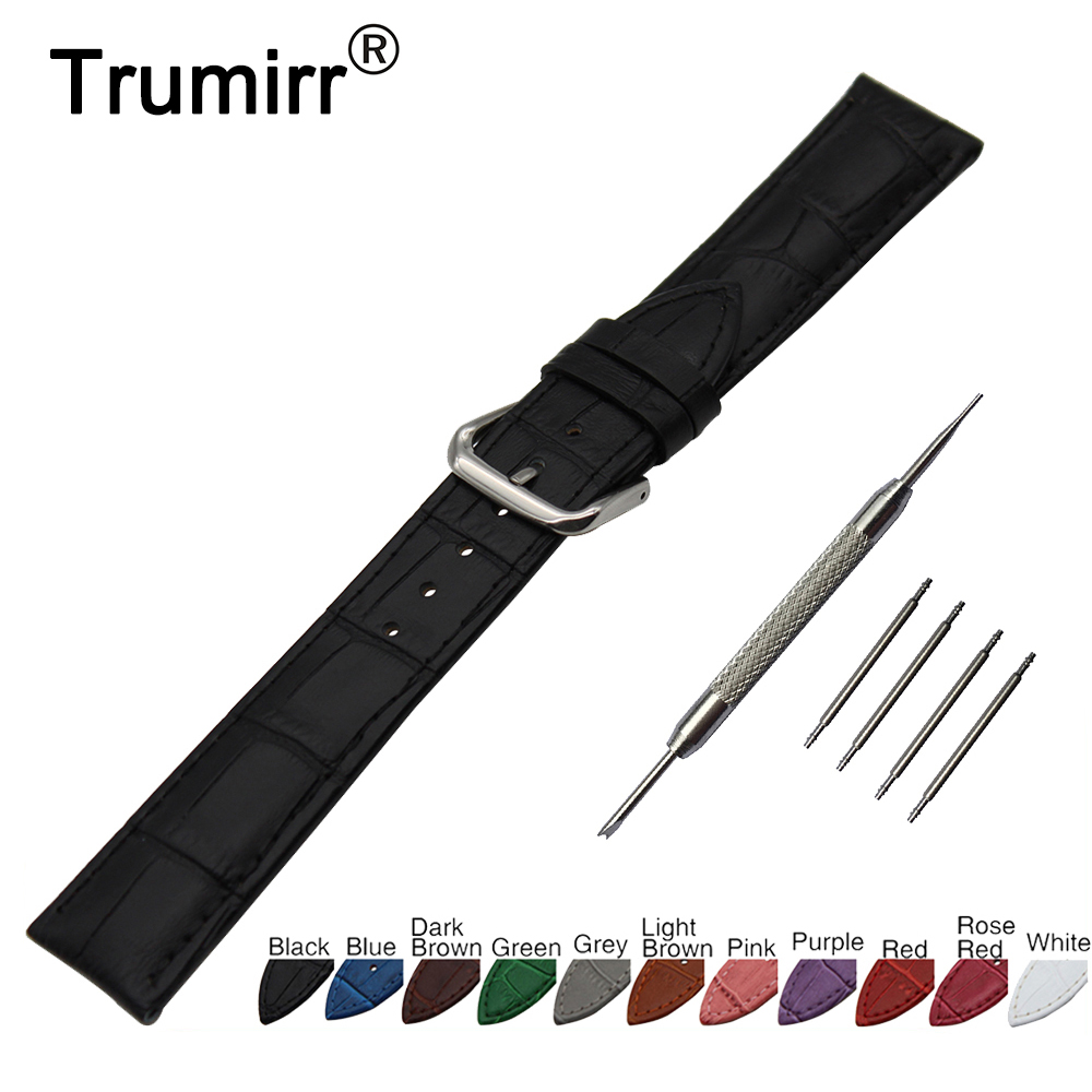 18mm Croco Genuine Leather Watch Band for Asus Zenwatch 2 Women WI502Q Stainless Steel Pin Buckle Strap Wrist Belt Bracelet 18mm nylon watchband for asus zenwatch 2 women wi502q 1 45 45mm fabric watch band nato strap wrist bracelet multi color tool