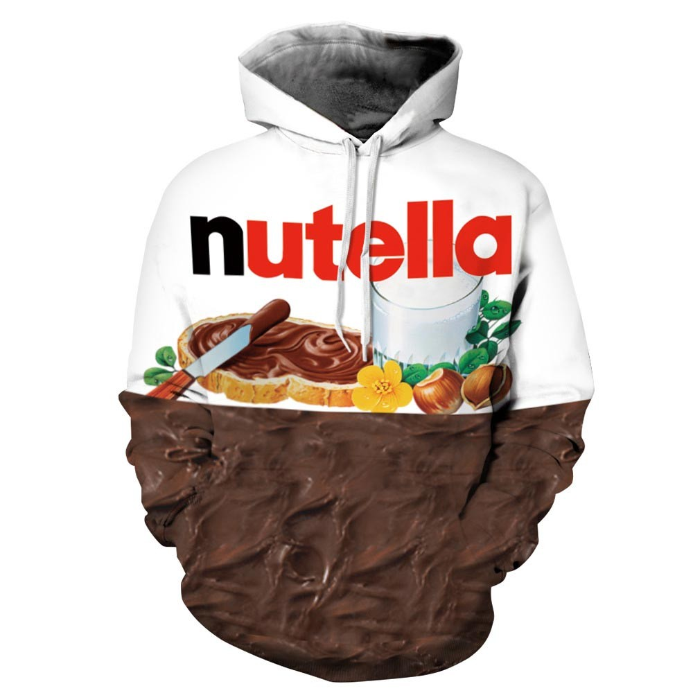 Headbook New Autumn Winter Women/Men Hoodies With Cap Print Nutella Food Hip Hop Hooded 3d Sweatshirts Hoody Tops DM061