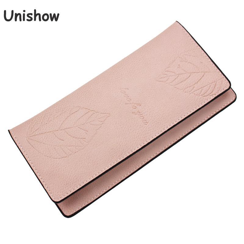 Unishow Engraved Leaf Women Wallet Female Thin Wallet Brand Designed Women Phone Purse Lady Card Holders