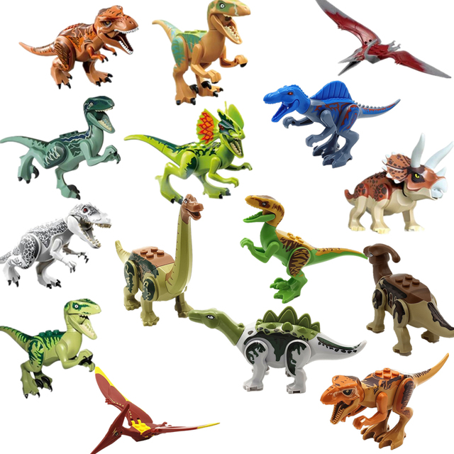 Nova 16 pçs/set Dinossauros Indominus Building Block Brinquedos mundo jurássico Dilophosaurus Pterosauria Tiranossauro Rex Eco