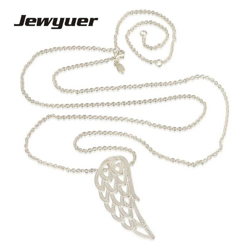 Angel Wing pendant Necklaces for Women 925 Sterling Silver link chain Necklace Women Fine Jewelry Jewyuer NC012