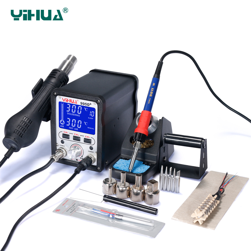 YIHUA 995D+ Lead Free Iron Soldering Station With Hot Air Station Soldering LCD Rework Station solder station yihua 995d lcd bga rework station hot air gun soldering station free tax to russia