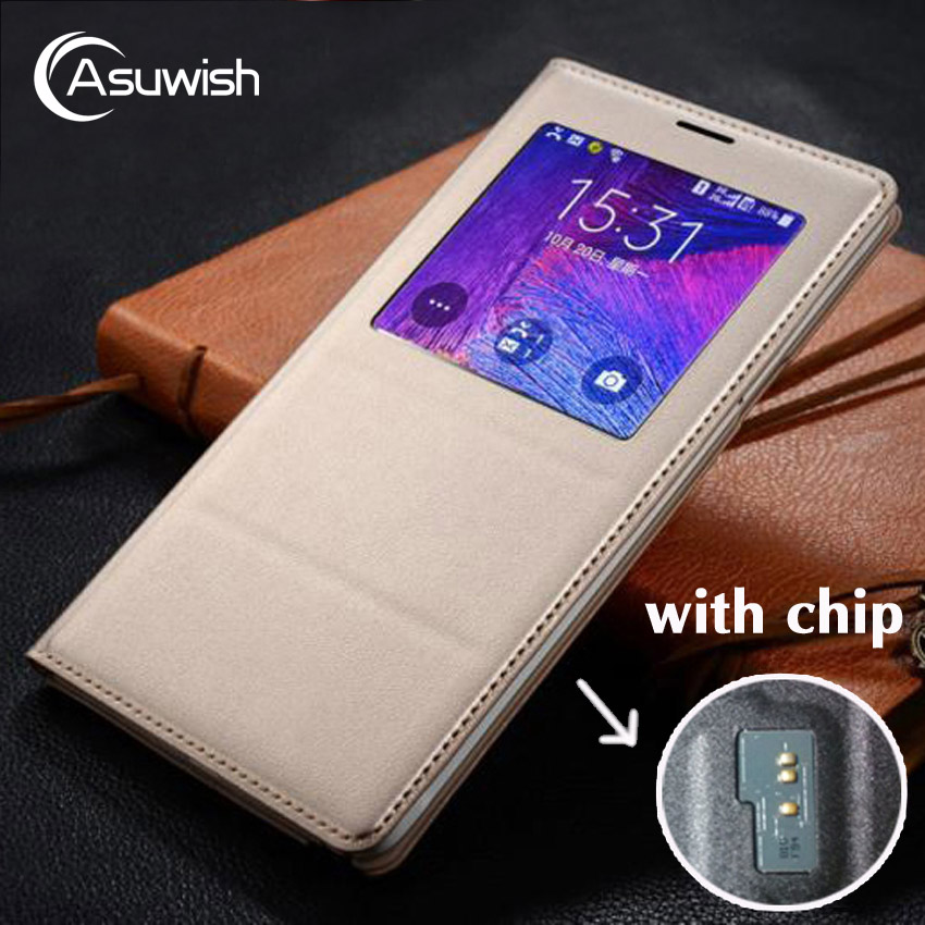Asuwish Flip Cover LAsuwish Flip Cover Leather Case For Samsung Galaxy Note 4 Note4 N910 N910F N910H Phone Case Cover Smart View ...