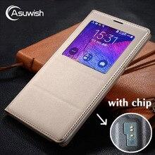 Voor Samsung Galaxy Note 4 Note4 Smart Case SM N910 N910F N910C N910H Lederen Telefoon Case Shockproof Flip Cover Met originele Chip