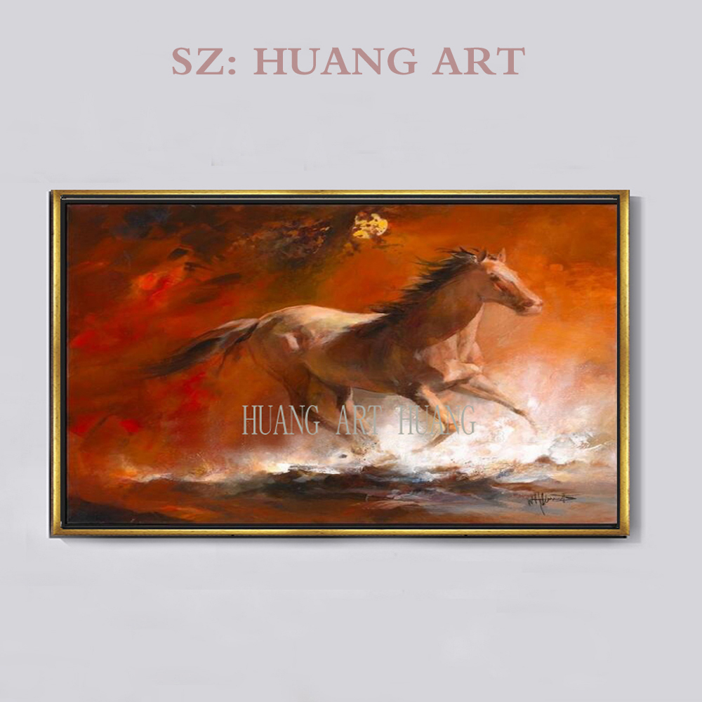 Hand-painted oil painting of cute animals brown Ma Yanshen works will wall decoration colorful horse decoration office  - buy with discount