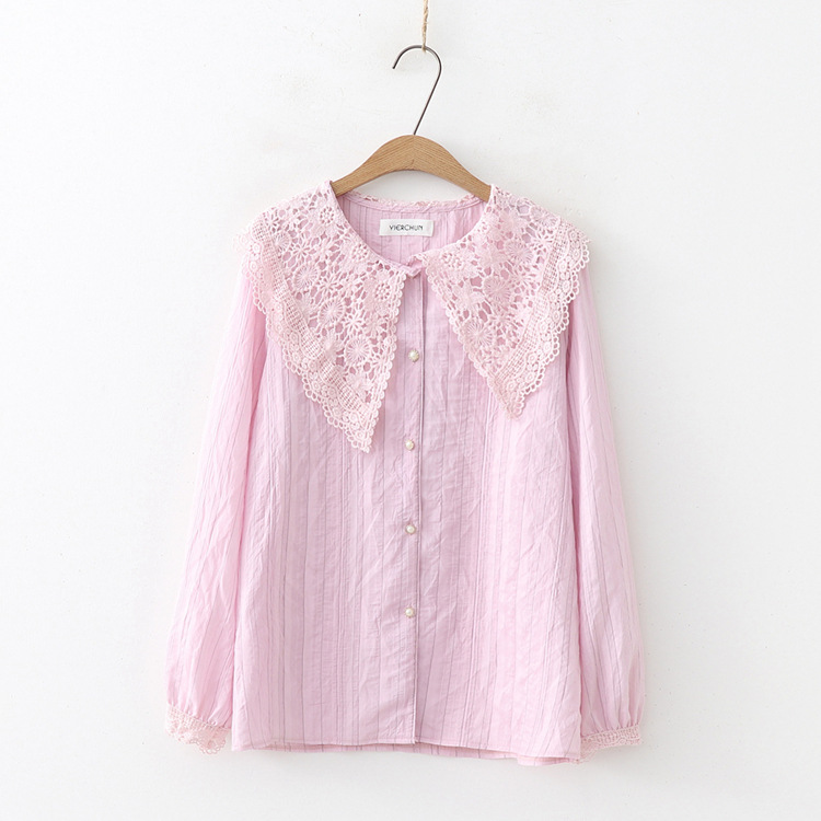 Women's Clothing Sunny Kyqiao Blusas Mujer De Moda 2019 Women Shirt Autumn Spring Japanese Style Sweet Long Sleeve Pink White Beige Blue Lace Blouse
