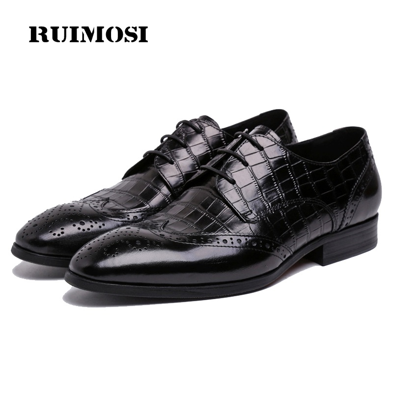 RUIMOSI High Quality Man Wing Tip Brogue Shoes Genuine Leather Platform Bridal Oxfords Derby Men's Handmade Bridal Flats BH30