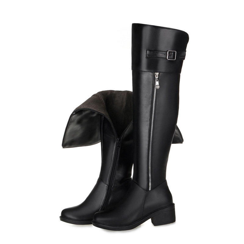 Plus size 35-43 Hot sale pu+genuine leather boots buckle zipper square heel autumn winter knee high boots fashion ladies shoes new big size 34 42 high quality pu genuine leather boots square heel winter shoes zipper buckle women knee high boots