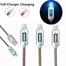 1m LED Light Nylon Braided Luminous Glowing Cord Micro USB Cable Fast Charging Data Sync Cable for Samsung Galaxy Android Phone