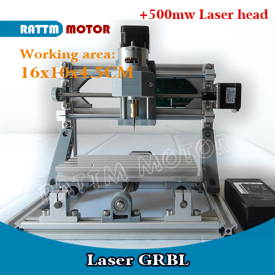 GRBL 1610+500mw GRBL control DIY mini CNC machine working area 16x10x4.5cm 3 Axis pcb pvc Milling machine,wood router Laser engr daniu 3018 3 axis grbl control 500mw laser diy cnc router milling engraving machine working area 30x18x40cm