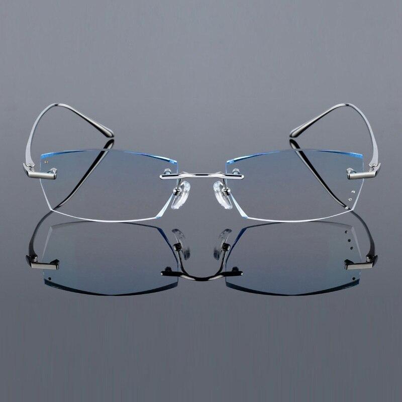 Image 3 - QJ Luxury Rhinestone Reading Glasses Men Diamond Cutting Rimless Glasses High Clear Men's Gray Readers Presbyopic Eye Glasses-in Men's Reading Glasses from Apparel Accessories