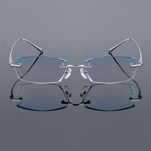 Image 3 - QJ Luxury Rhinestone Reading Glasses Men Diamond Cutting Rimless Glasses High Clear Mens Gray Readers Presbyopic Eye Glasses
