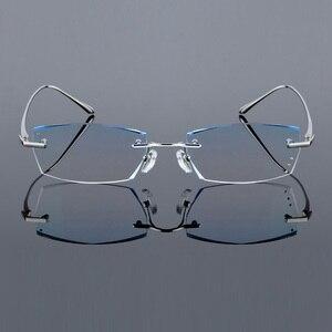 Image 3 - QJ luksusowe Rhinestone okulary do czytania mężczyźni, diamentowe, bez oprawek, okulary, wysokiej jasne męska szary czytelnicy dalekowzroczności starczej okulary