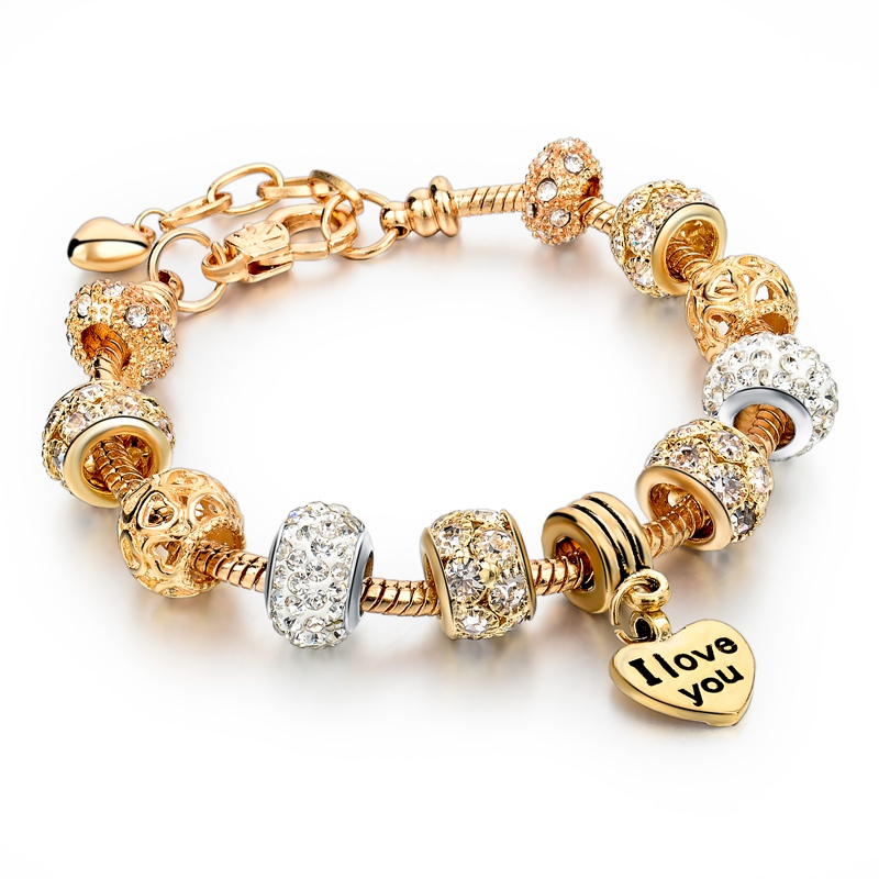 Pandora Jewelry For Sale: 2016 Hot Sale Luxury Gold Charm Pandora Bracelet For Women