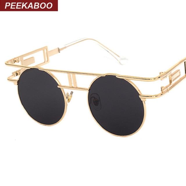 9aa408696f Peekaboo Brand designer women gothic steampunk mens sunglasses coating  mirrored sun glasses round female pink
