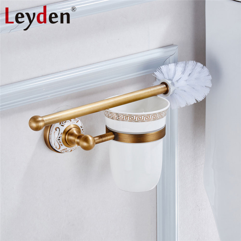 Leyden Toilet Brush Holder ORB/ Antique Brass Plated Copper Toilet Brush Holder with Ceramic Cup Household Bathroom Accessories heavy bullet head bobbin holder with ceramic tube tip protecting lines brass copper material