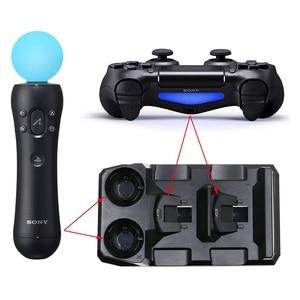 Image 5 - Pour Playstation 4 PS4 mince Pro PS VR PS déplacer les contrôleurs de mouvement 4 en 1 chargeur USB Station de chargement support de stockage