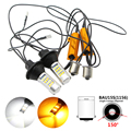 2pcs 1156 7507 PY21W BAU15S LED Canbus 80W Dual Color White/Amber Bulb Auto Rear Direction Indicator Car Front Turn Signal Light