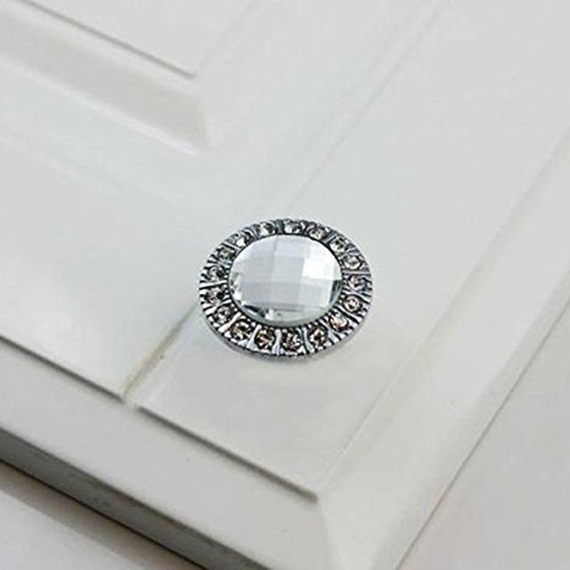 Alta Qualidade 10 pcs de Cristal de Vidro Claro Rodada Puxador Brilhante Rhinestone Knob para Armário Gaveta Prata