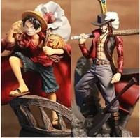 2017 16cm One Piece 2pcs Set Anime Banpresto Colosseum SCultures Vol 2 Dracule Mihawk Luffy PVC