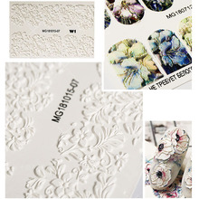 1 sheet 3D Acrylic Engraved Flower Nail Stickers Decal Transfer Tattoo Decoration Manicure Adhesive Tip