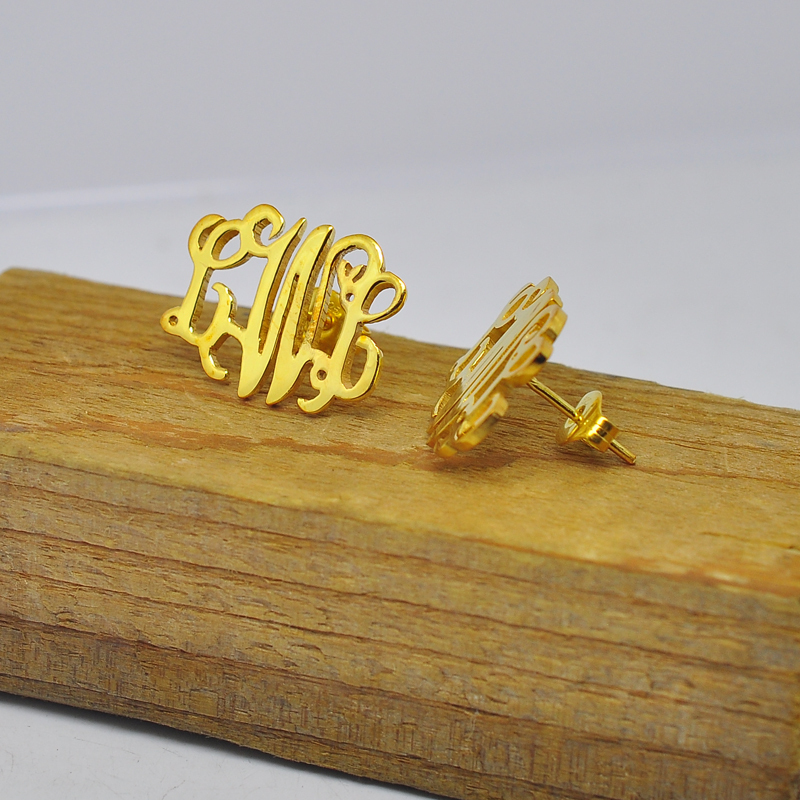Whole Gold Monogram Name Stud Earrings Sterling Silver Personalized Initial Earring Custom Nameplate Jewelry Christmas Gift
