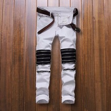 ripped biker jeans men famous brand white fashion vaqueros hombre skinny man zipper trousers casual denim Cotton brand-clothing