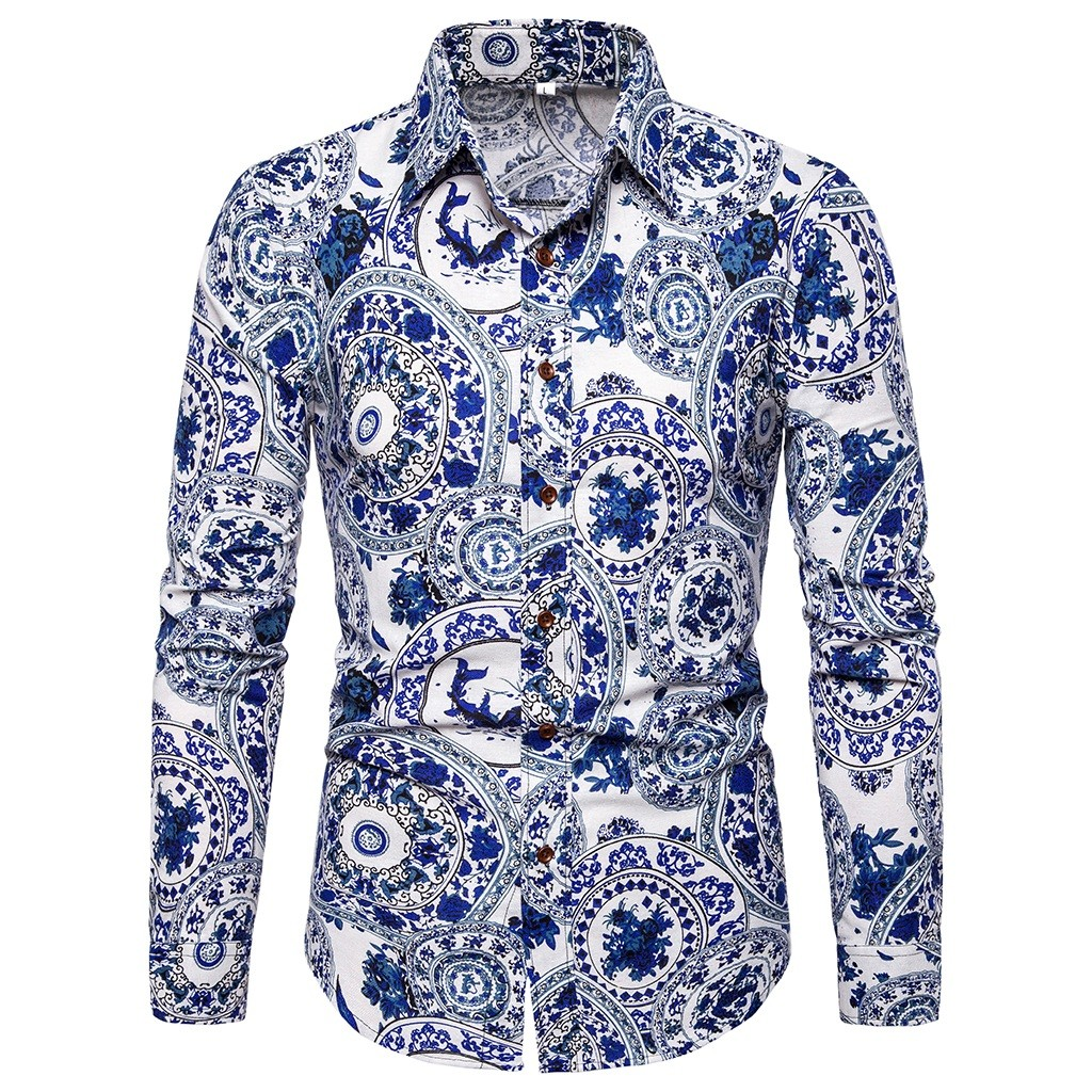 Mens Long-Sleeved Floral Printed Leisure and Fashion Shirt