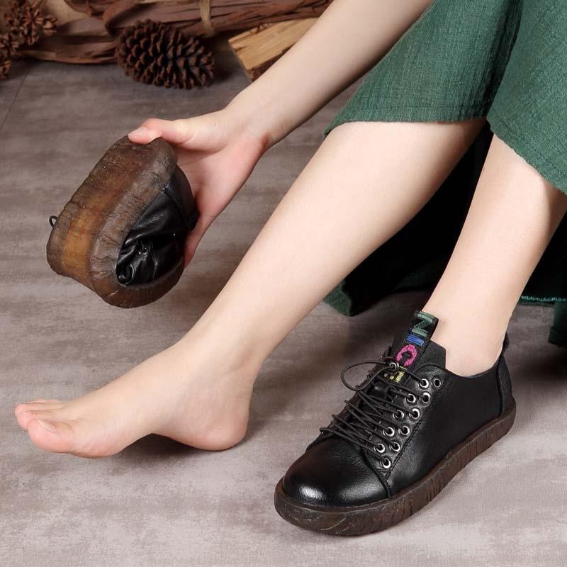 Automne Et Basses Nouvelle Femmes Tête noir Confortables Beige Chaussures 2018 D'hiver Cuir En Joker Loisirs À De Lacets Rondes Souple WwYPY1q7