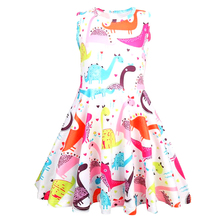Summer Baby girl clothes dinosaur dress jacquard dresses for Girls Halloween costume cosplay Party Vestidos 1208
