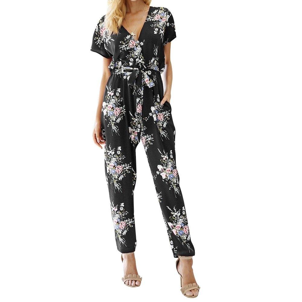 Women Floral Boho Workwear Jumpsuit Short Sleeve Casual Loose Belt  Floral Print Boho Jumpsuit Romper Vneck #xqx