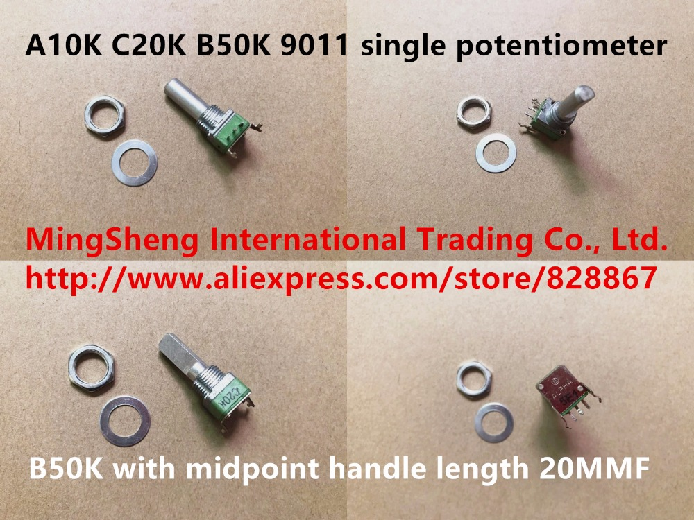 Original new 100% A10K C20K B50K 9011 single potentiometer with midpoint handle length 20MMF (SWITCH) image