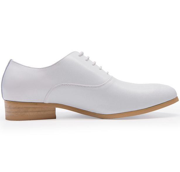 New mens del cuoio genuino pattini di vestito bianco balck oxfords rotonde toe lace up scarpe da sposa di alta qualità business casual lavoro scarpe - 4