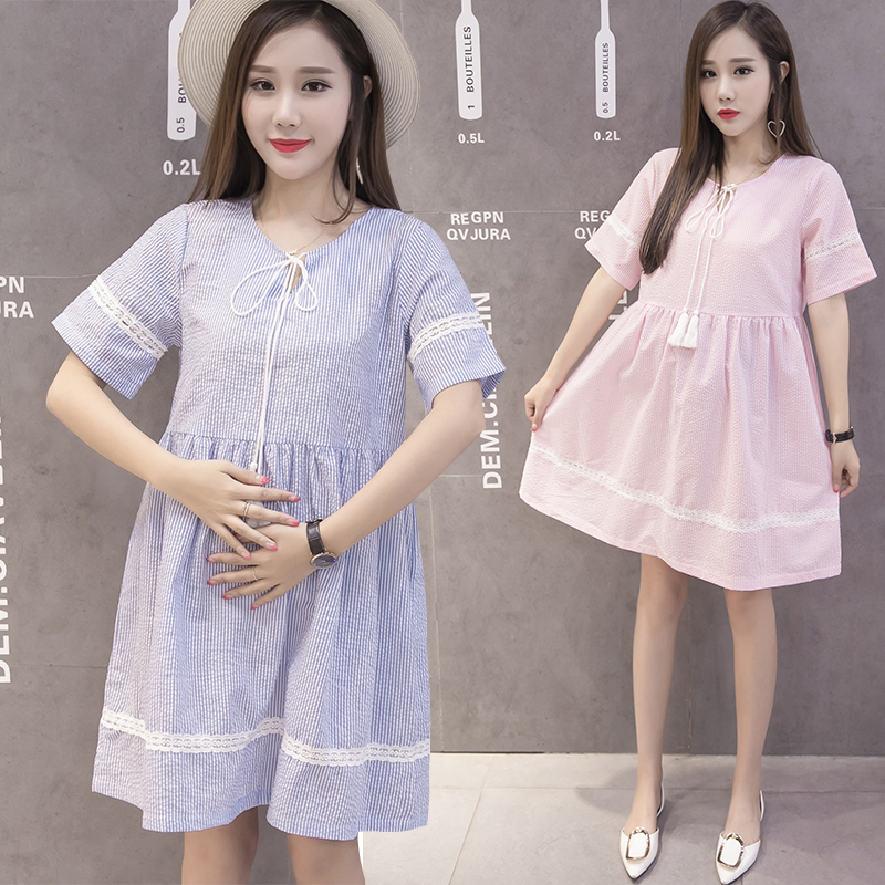 Maternity Dress 2018 Summer Bow Stripe Tops Short Sleeved Blouse Pregnant Womens Clothing Women Clothes Comfortably Breathable