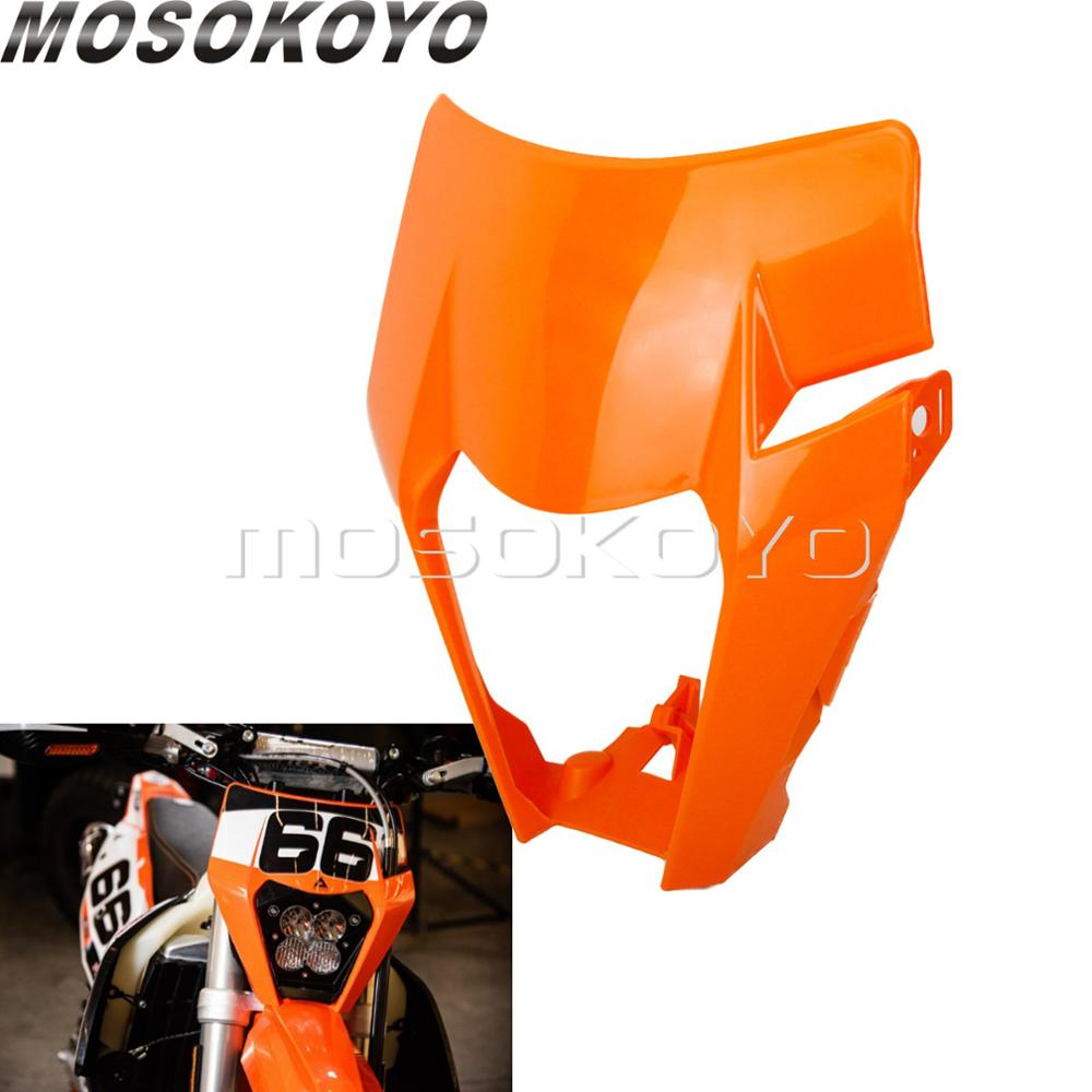 Motocross Orange LED Headlight Cover Lighthouse Shell Modified Head Lamp Housing For KTM Husqvarna EXC FE TE TX FC XCF 125-501