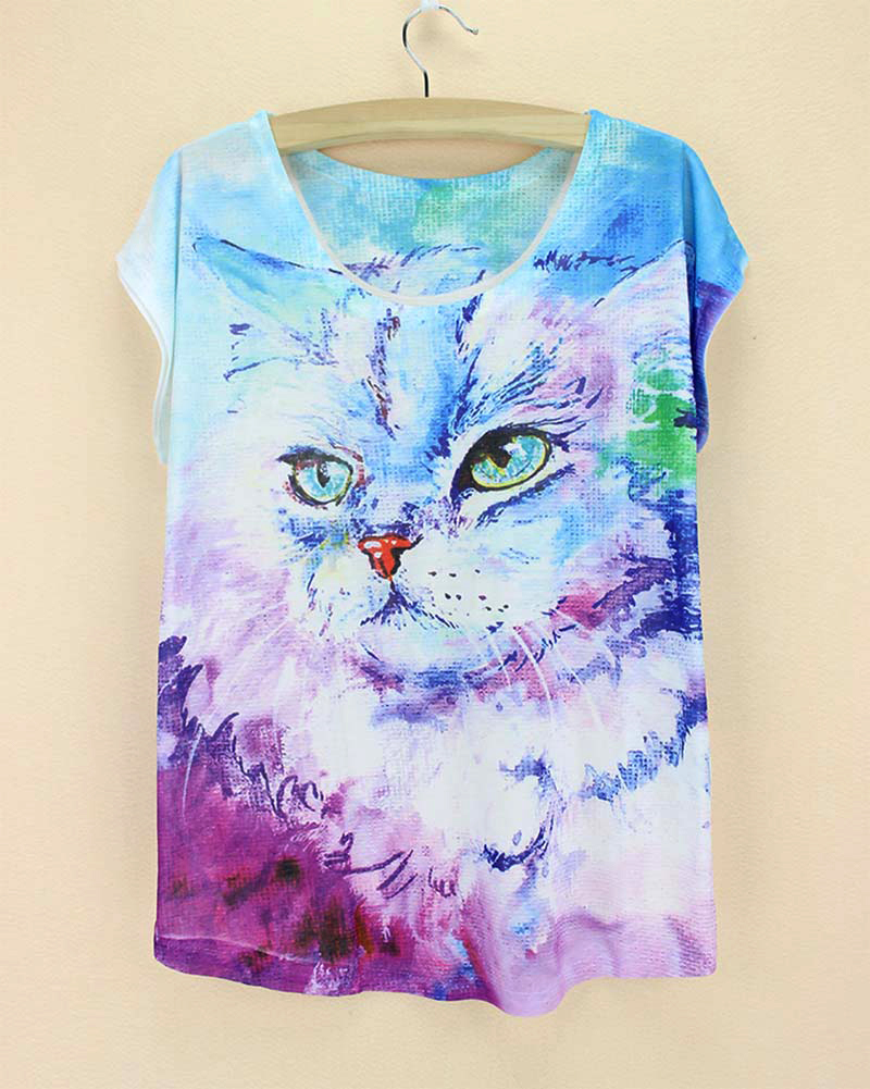 Cute cats pattern women tshirt 2015 novelty printed t for Pattern shirts for women