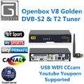 Openbox V8 Dourado & USB Wi-fi DVB-S2/T2 DVB-C Receptor de Satélite Combo Suporte PowerVu Receptor Cccamd Newcamd Biss Key USB Wi-fi