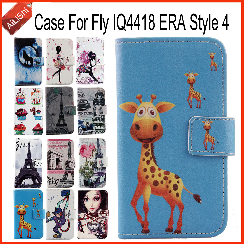 AiLiShi Factory Direct! Case For Fly IQ4418 ERA Style 4 Book Flip Leather Case Exclusive 100% Special Phone Cover Skin+Tracking
