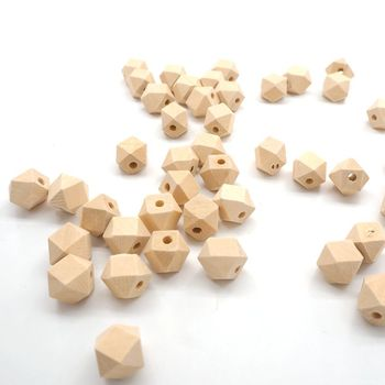Chenkai 100PCS Wooden Unfinished Beads Geometric Hexagon Beads Natural bead For DIY Baby/Infant Teether Nacklace Accessories chenkai 100pcs 20mm wooden unfinished beads geometric hexagon beads natural beads for diy baby teether nacklace accessories