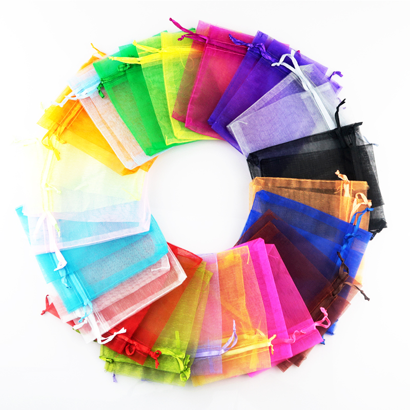 100pcs/lot 7*9cm Multicolor Organza Bags Small Wedding Gift Bag Cute Drawable Charms Candy Jewelry Packaging Bag Pouches
