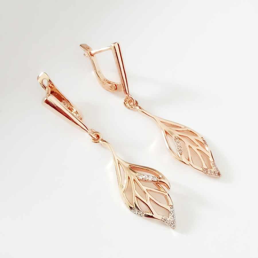 חדש זהב עגילי טיפת עגילי תכשיטי עגילי 585 עלה זהב תכשיטי טרנדי צורת עלה קוריאני עגילים